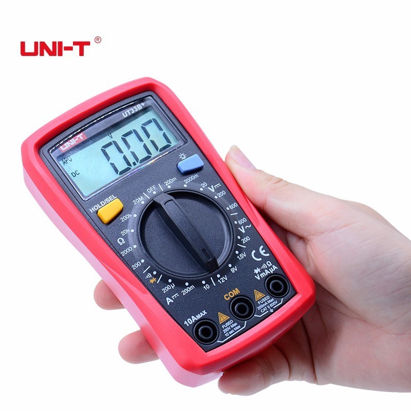 High quality UNI-T UT33B+ Palm size Multimeter LCD backlight manual range AC DC voltage 600V resistance +battery status