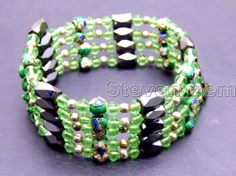 Round 6mm Green Cloisonne Hematite Magnetic Beads & Blue Crystal Tibetan Silver Beads Necklace/Bracelet -bra282 Free ship