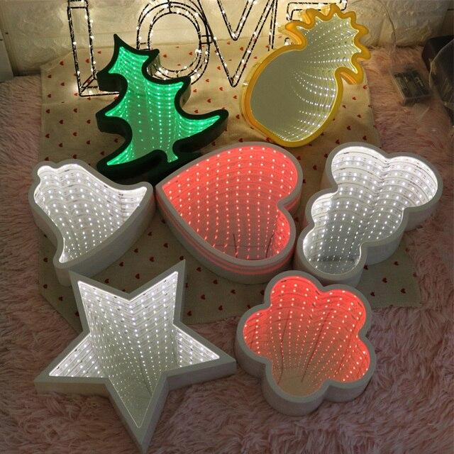 Creative 2018 3D Tunnel LED Wall Lamp Night Light Pineapple Decorative Moon Star Cloud Flower Desk Lighting For Bedroom Kid Gift
