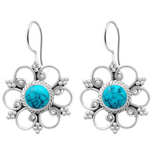 New Vintage Retro Flower Orchid  Drop Earrings Inlaid Blue Stone Fashion Classic Dangle for Women Girls Gift