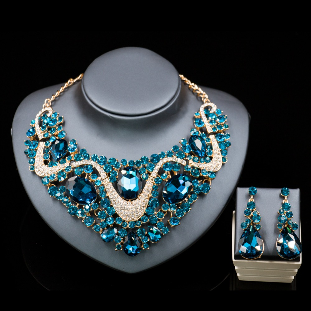 Lan palace fine jewelry necklace sets gold luxury Rhinestone necklace and earrings for wedding six colors free shipping