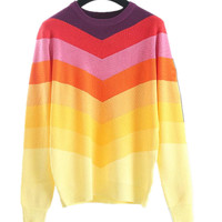 sweater women fashion rainbow pullover cotton Stripes Pattern Knit Tops