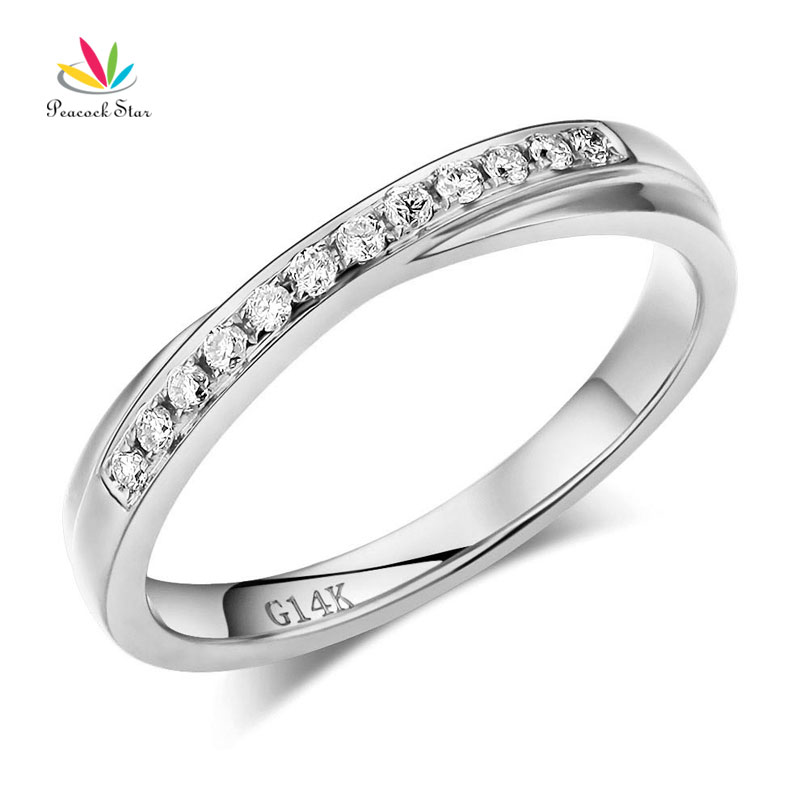 Peacock Star Matching 14K White Gold Women Wedding Band Ring 0.14 Ct Diamonds ...