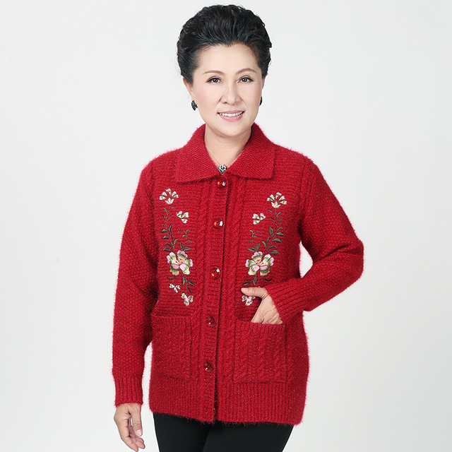 Plus Size Women Cardigan Sweater Embroidery 50 60 Years Old Mother