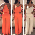 2017 Elegant Jumpsuit Elegant Jumpsuit New Polyester Solid Bodycon Playsuit 2016v Neck Sling Halter Waisted Wide Leg Pants Sexy