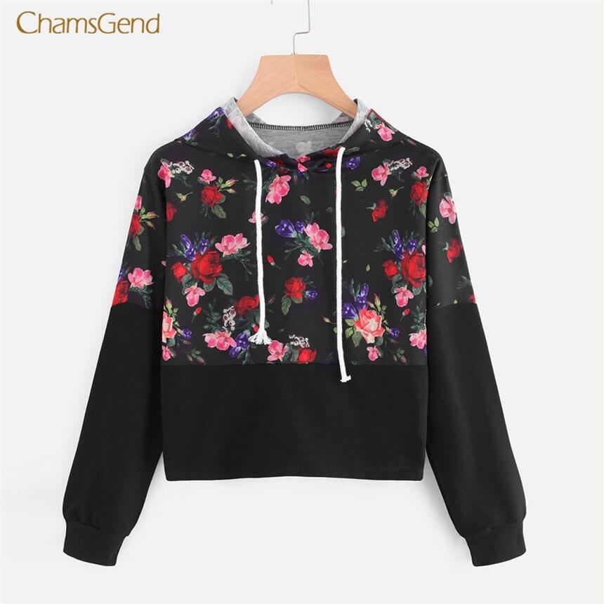 CHAMSGEND 2018 Hoodies Women Hoodies Winter Warm Women Hoodie Sweatshirts Womens Rose Embroidery Long Sleeve Hooded Sweatshirt