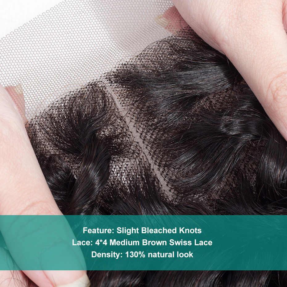 Габриель бразильские человеческие волосы кудрявые вьющиеся закрытие 4x4 бесплатно/средний/три части не Реми швейцарская шнуровка натуральный черный цвет