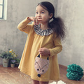 2016 girl dresses fox appliques dress brand children's clothing autumn new princess dress for girl baby yellow cotton clothting