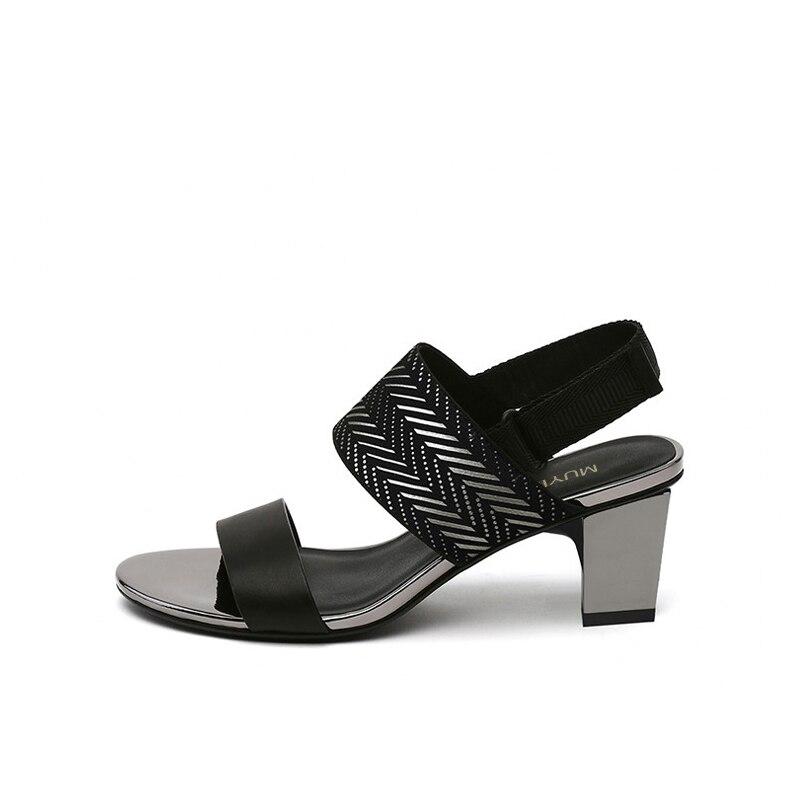 Sandały letnie gruby kwadratowy obcas 5 cm masywne szpilki na wysokim obcasie damskie buty Gladiator Sandalias Mujer HL152 MUYISEXI w Średni obcas od Buty na  Grupa 3