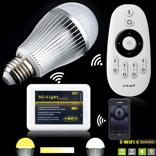 Cold White Light Bulb: E27 9W Dual White Warm White Cold White MiLight LED CCT Dimmer Light Bulb  +2.4,Lighting