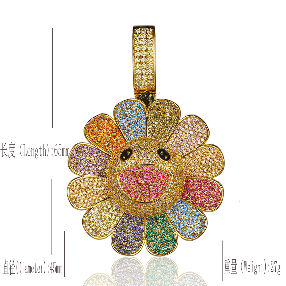 Hip Hop 3A Zircon Rotatable Smile RotationTakashi Murakami Sunflower Necklace Insert Drill Iced Out Pendant Silver Pink Blue