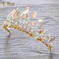 Мода Ручной Золотой цвет Листьев Корона Девушка Тиара перл hairwear невесты hairband горный хрусталь пром свадебный аксессуары для волос xy081