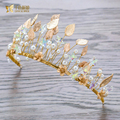 Fashion Handmade Gold color Leaf Crown Girl Tiara pearl hairwear bride hairband rhinestone prom wedding hair accessories xy081