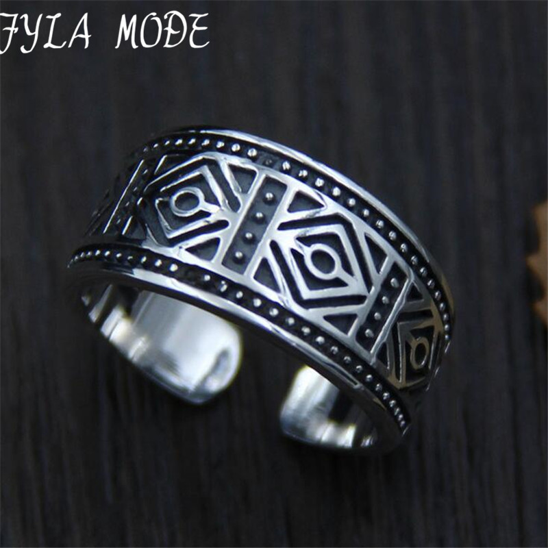 Fyla Mode Wholesale S925 Silver Fashion Jewelry Thailand Carved Retro Mens Wide Finger Ring 10mm 5.20G TYC065