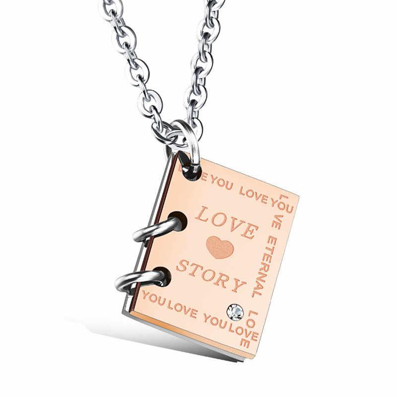 """ZORCVENS romantyczny """"Love Story"""" książka wisiorek naszyjnik dla par czarny złoty kolor naszyjnik ze stali nierdzewnej dla mężczyzn i kobiet biżuteria"""