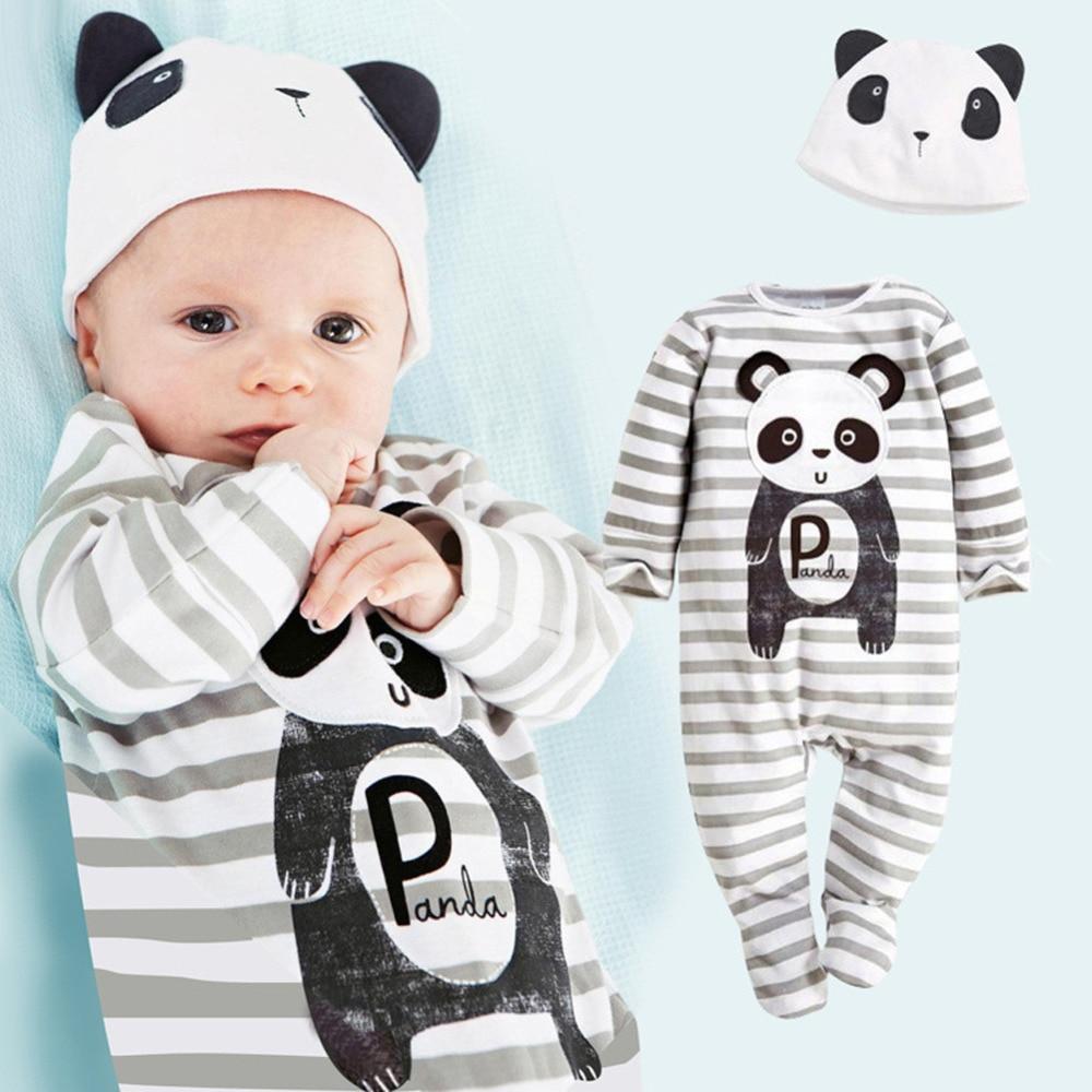 Winter Autumn Cute Cartoon Tiger Lion Panda Baby Rompers Hat Long