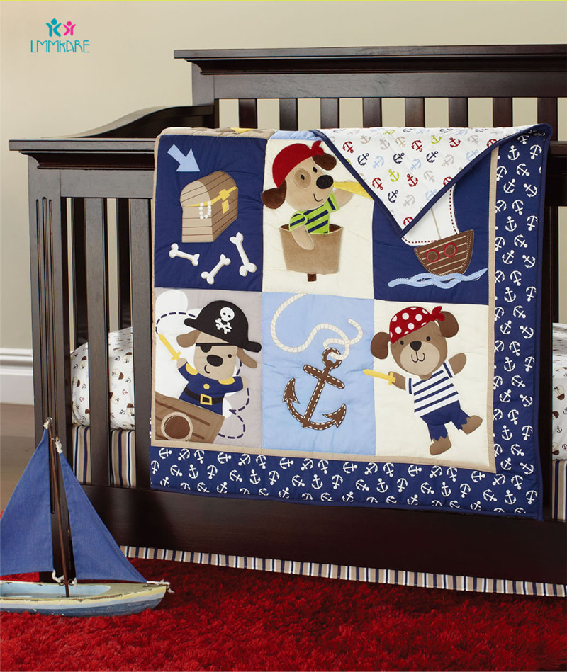 Blue Baby Bed Bumpers Cotton Cartoon Pirates Of The Caribbean Pattern Baby Infant Bed Sheet Quilt Bed Skirt Soft Bedding Sets