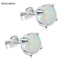 925 sterling silver Simple style white fire Opal earrings anniversary jewelry fashion SE28