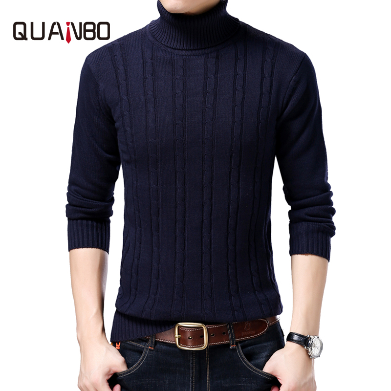 QUANBO Brand Turtleneck Sweater 2018 Autumn Winter Elasticity Warm Knitted Pullover High Quality Casual Slim Sweaters