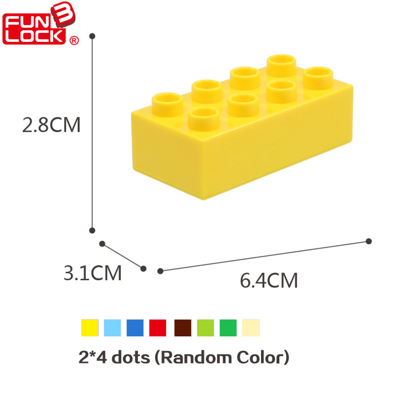 Funlock Duplo Building Blocks Construction Toys Assembly Parts 12pcs 2x4 High Dots Building Accessories Bricks for Children Kids