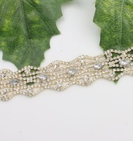 1Yard Rhinestone Cup Chain Gold Base With Claw Dress Decoration Crystal Trim Applique Sew On Garment