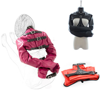 camaTech PU Leather Body Bondage Strait Jacket With Handcuffs Open Breast Bondage Arm Binder Hands Restraint Harness Aduld Games