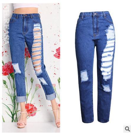 ᑐFree Shipping Womens Loose Straight Denim Jeans High Waist Large ...