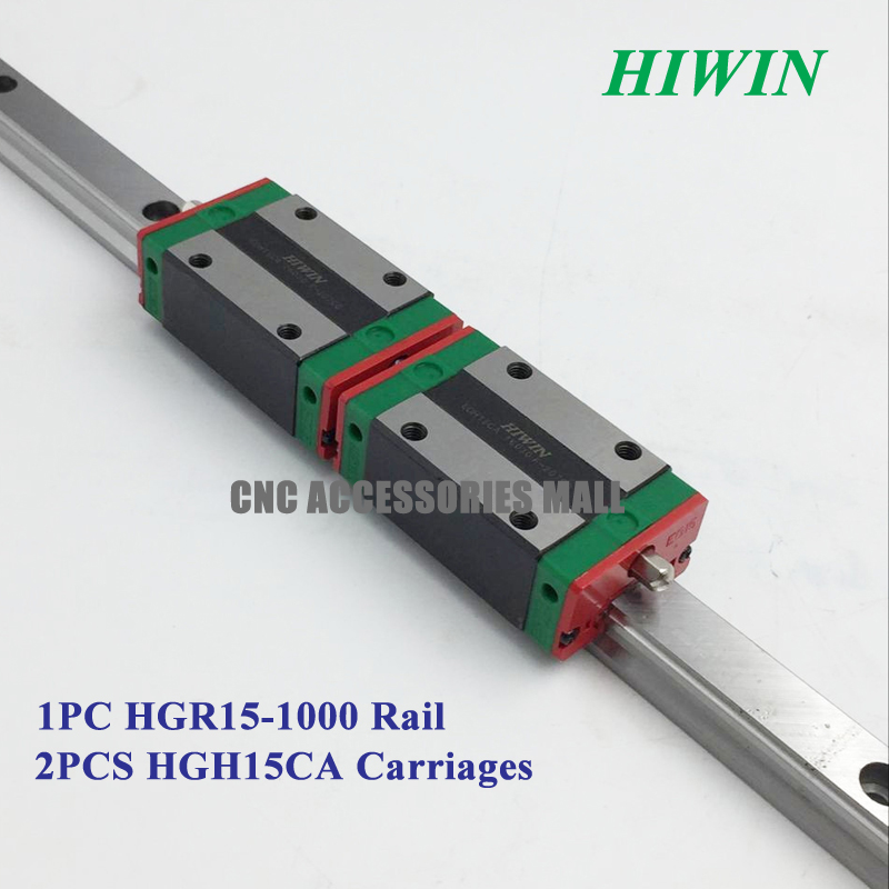 100% Original HIWIN linear guide rail HGR15 1000mm long with 2pcs linear block carriage HGH15CA original hiwin linear guide hgr15 l600mm rail 2pcs hgh15ca narrow carriage block