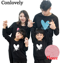 Фотография Family Sets Matching Outfits Winter Thicken Print Sweater Mom Daughter Clothes Father Son Sweatshirt Family Look Warm Clothing