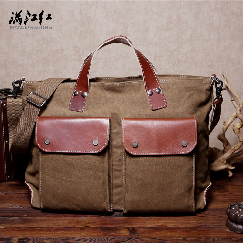 ФОТО Manjianghong High Quality Canvas Man Bag Match Imported Cow Leather Long Dural Use Men Handbag Messenger Bag 1530