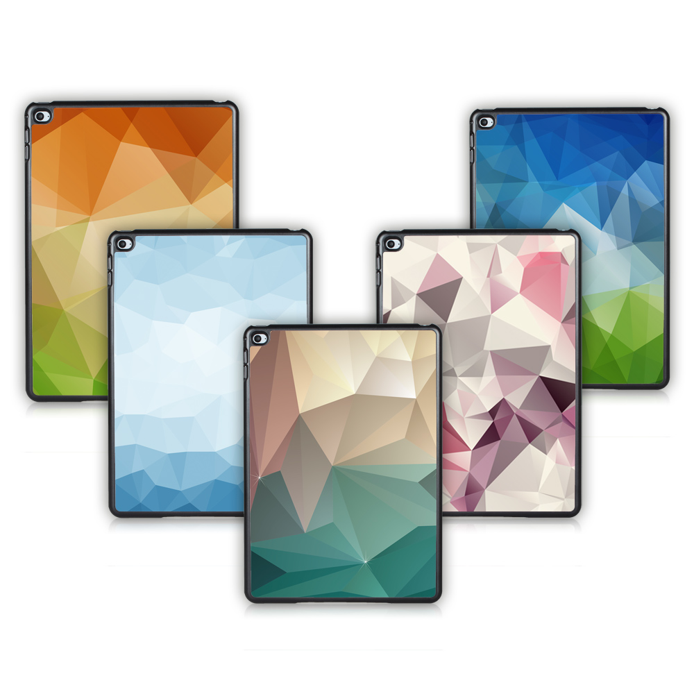 Fashion Colorful Geometric Series For IPAD 2 / 3 / 4 Case Cover Plastic Hard Back Tablet Case Cover support DIY