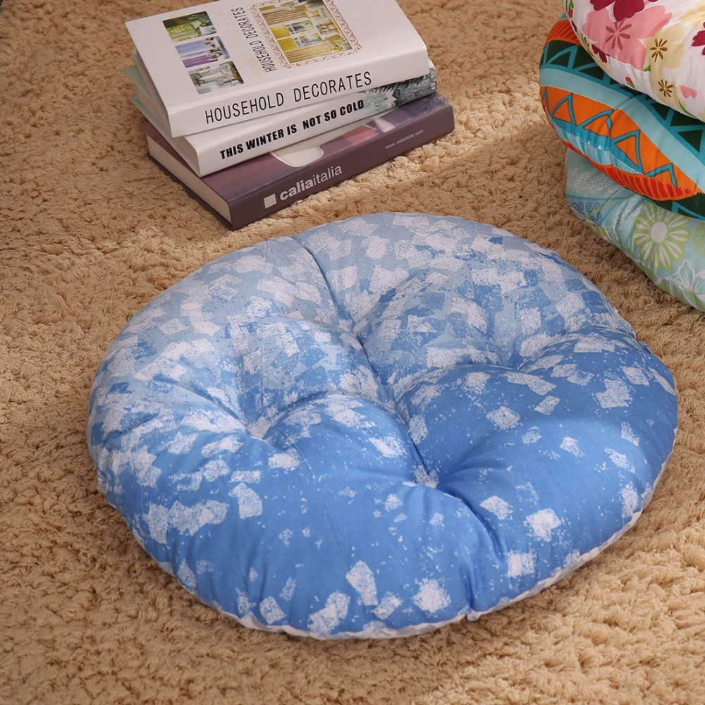 SewCrane Abstract Blue Shapes Japanese Seating Functional Cushion ...