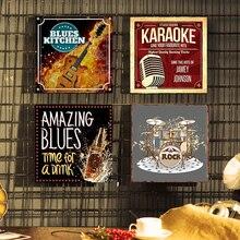 Blues música signo de Metal decoración de paredes para Bar signo Tin póster clásico de Metal Decoración de casa pintura placas de arte cartel 30x30