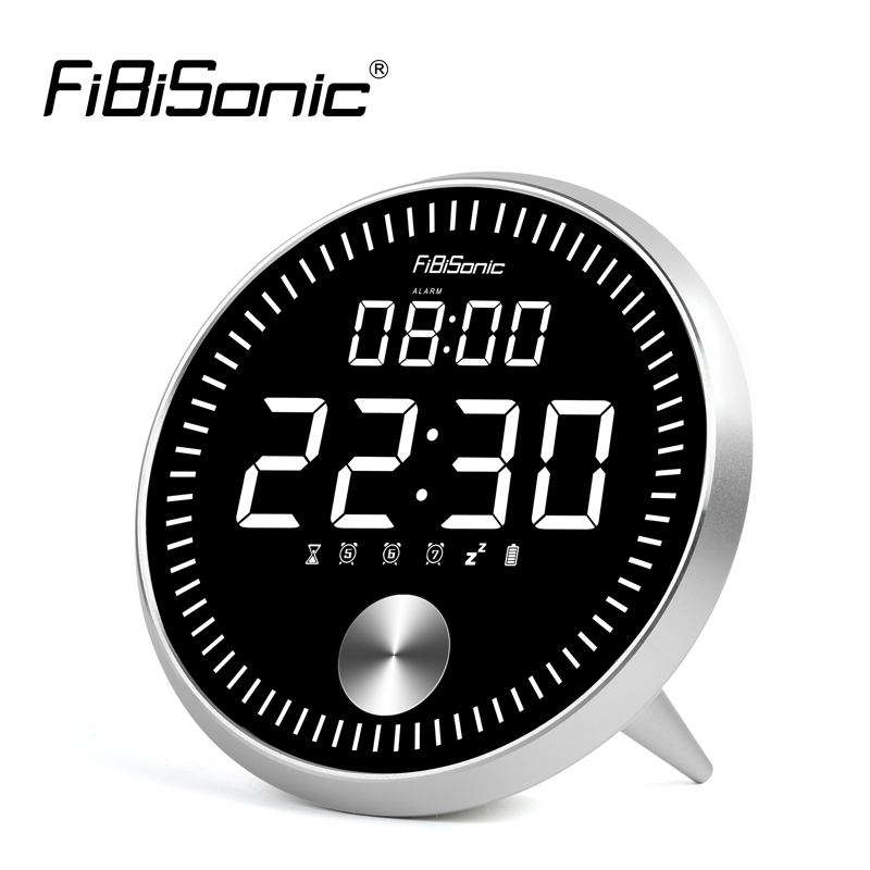 FiBiSonic Dynamic Digital Alarm Clock With Smart LED Display Dual Alarms Count up Count down Desk