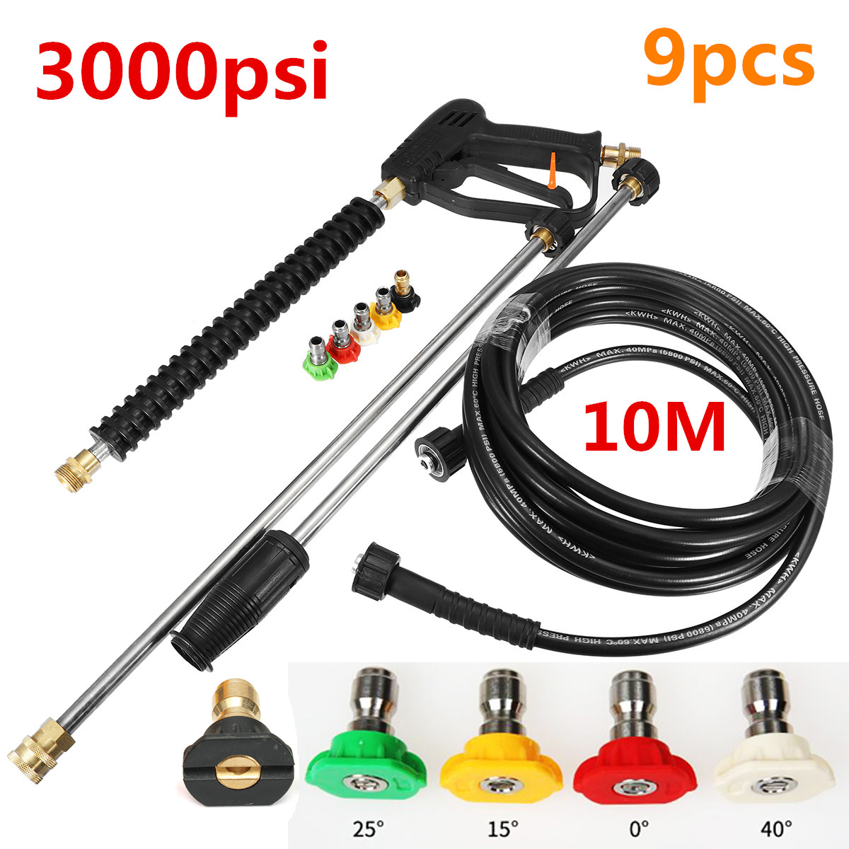 Car High Pressure Washer Water Gu n Power Spray Nozzle 10m Wash Hose With Long Bent Pole Cleaning Tools Garden Car Washer Gu n metal hose nozzle high pressure water spray gun sprayer garden auto car washing
