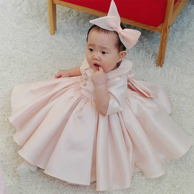 9d3599001b0a0 Pink Tulle Newborn Baby Girls Flower Lace Baptism Dresses for 1 Year First  Birthday Princess Long Sleeve Christening Gown Outfit