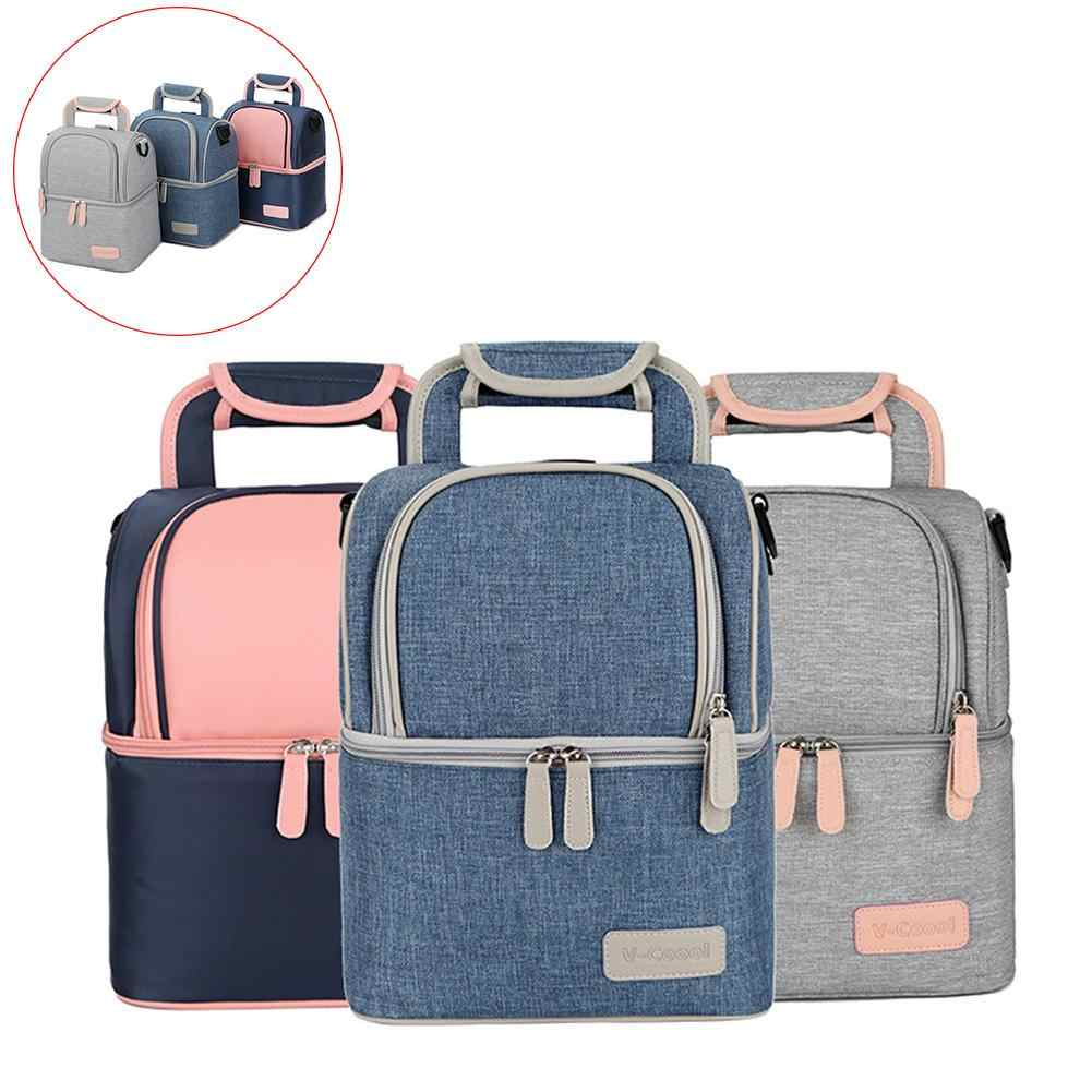 Thermal Lunch Box Cooler Food Double Layer Women Baby Milk Bottle Bag Backpack Hot!!!