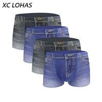 4Pcs Set New Cotton Jeans Men Boxers Underwear Sexy U Convex 3D Print Male Underwear Shorts