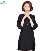 OKXGNZ Large Size Women Clothing 2017 Spring Summer New Fashion Loose Dress Bead V-neck  Dress slim Elegant Leisure Dress A171