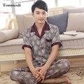 2017 New Luxury Mens Silk Pyjamas Short Sleeve Shirt Sleep Trousers Silk Satin Mens Sleepwear Pajamas Set Plus Size 3XL