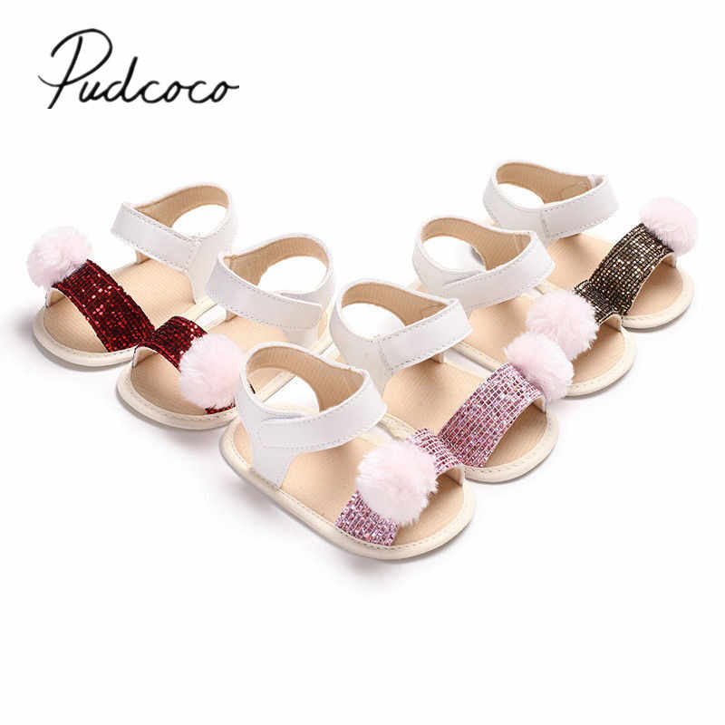 589486369dce6 Detail Feedback Questions about 2018 Brand New Newborn Infant Baby Girl  Soft Sole Crib Shoes Toddler Summer Pram Sandals Fur Ball Sequin Sandals on  ...