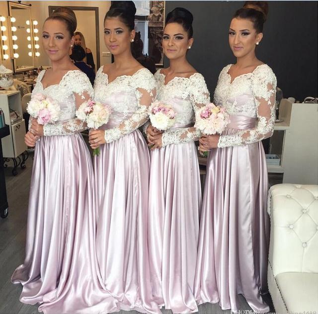 2017 Cheap Bridesmaid Dresses Wedding Guest Wear Long Sleeves White Lace  Appliques Party Dress Plus Size Maid of Honor Gown 10fbe77d1d1a