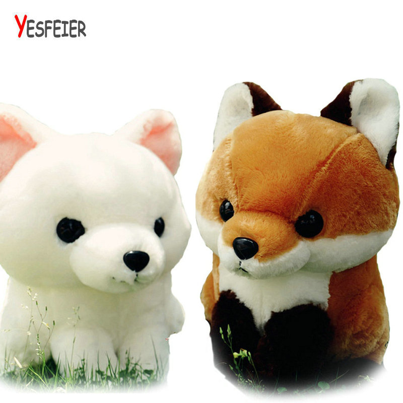 40CM white/brown Cartoon Long Tail Fox Plush Doll Toy Stuffed Animal Fox Education Toys For Babys Birthday Gift Toy genuine leather men wallets short coin purse vintage double zipper cowhide leather wallet luxury brand card holder small purse