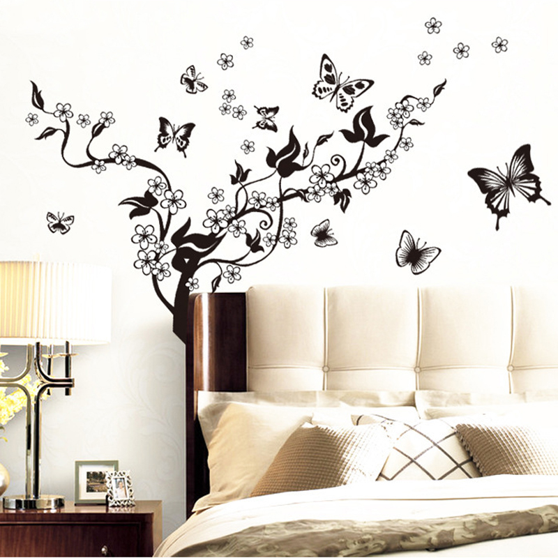 Fashion Romantic Flower Wall Sticker Art Decal Background Decoration Wall Stickers Home Decor Butterfly 3D Wallpaper On The Wall