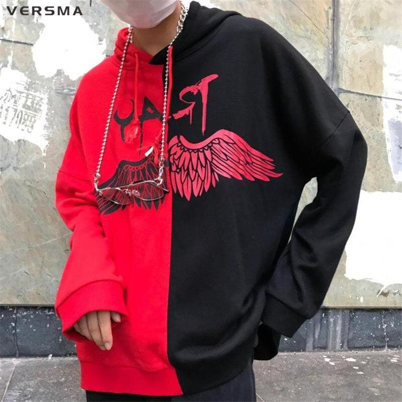 VERSMA New Korean Harajuku BF Hooded Graffiti Printed Patchwork Hoodie Sweatshirt Men Autumn Hip Hop Loose Unisex Sweatshirt Men hoodie