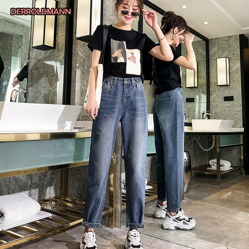 Women Jeans High Waist Large Size Denim Washed Bleached Pants Adjusted Waistline And Adjusted Cuffs Loose Womens Jeans