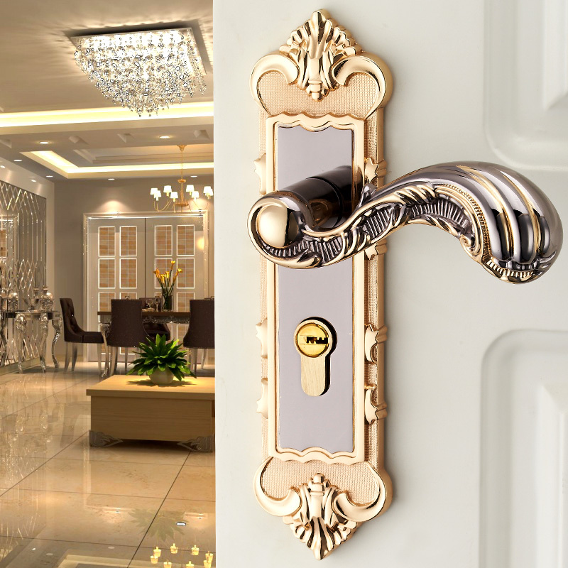 European luxury stainless steel wooden door handle locks - Door handles with locks for bedrooms ...