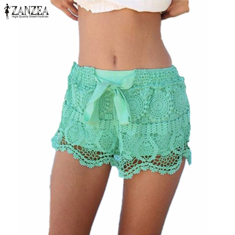New Arrival 2019 Summer ZANZEA Women Shorts Casual Lace Drawstring Hollow Out Shorts Solid Sweet Shorts For Women Plus Size 3XL