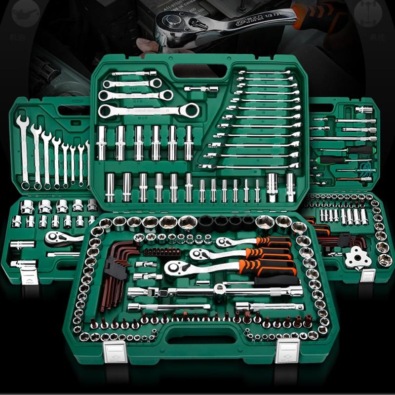 121PC Car Repair Tools Mechanic Tools Set Socket Wrench Tools for Auto Ratchet Spanner Screwdriver Socket Set Hex Key huguang multifunctional 32 46 94 120pcs ratchet wrench set of tools household tool kits hex key precise screwdriver bits set