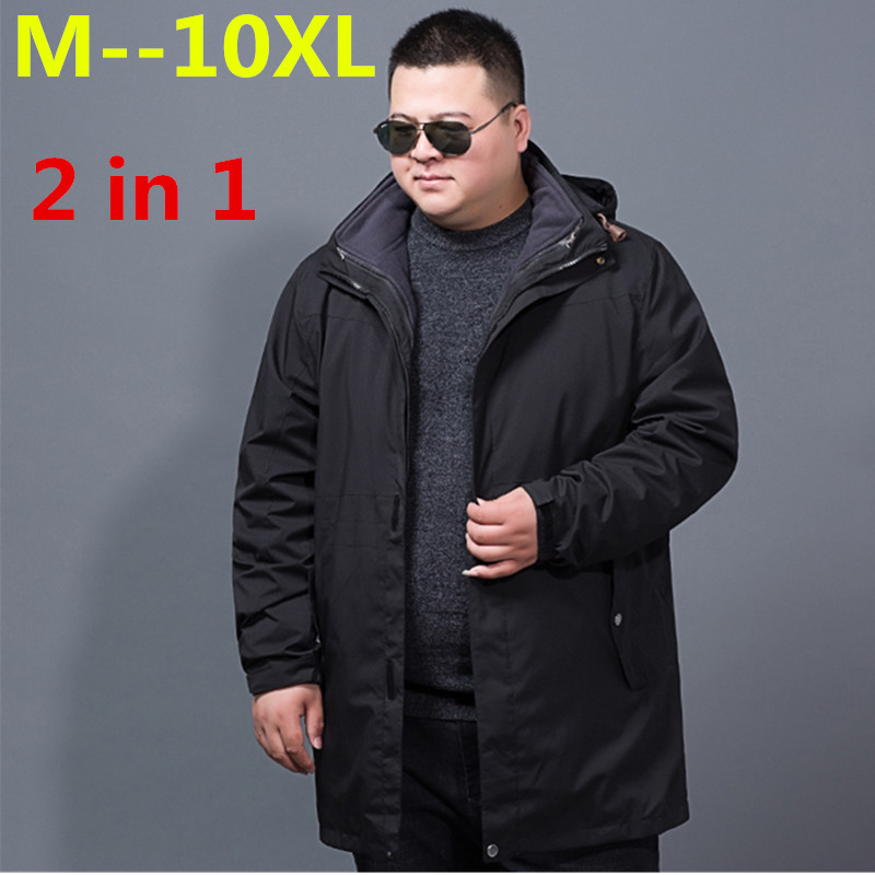 plus size 10XL 9XL 8XL 6XL 5XL 4XL winter jacket men 2 in 1 parka jacket thicken warm windproof waterproof parka men hooded coat женский закрытый купальник yqe 4xl 5xl 6xl 7xl 8xl 9xl 10xl 11xl 12xl 2376